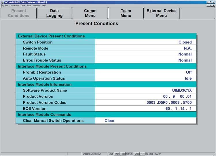 IntelliLINK Software View the Present Conditions Screen The PRESENT CONDITIONS screen (Figure 1) shows the present status of various switch control settings, any existing fault and error conditions.