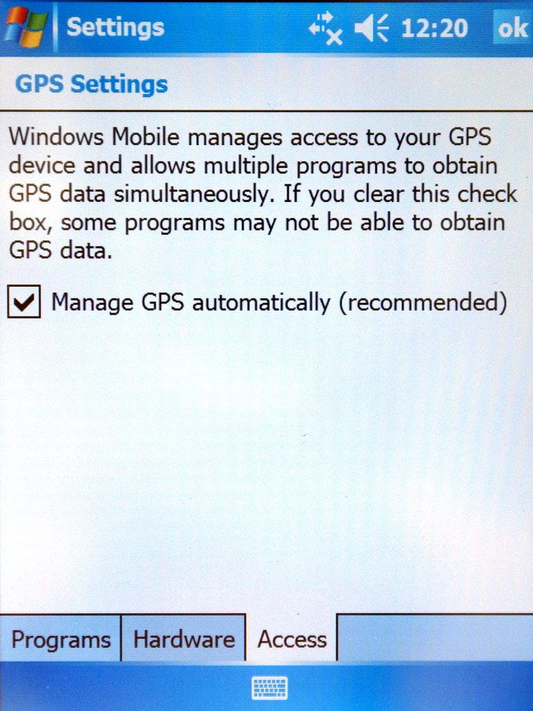 GPS CONFIG Refer to the PDA manual for