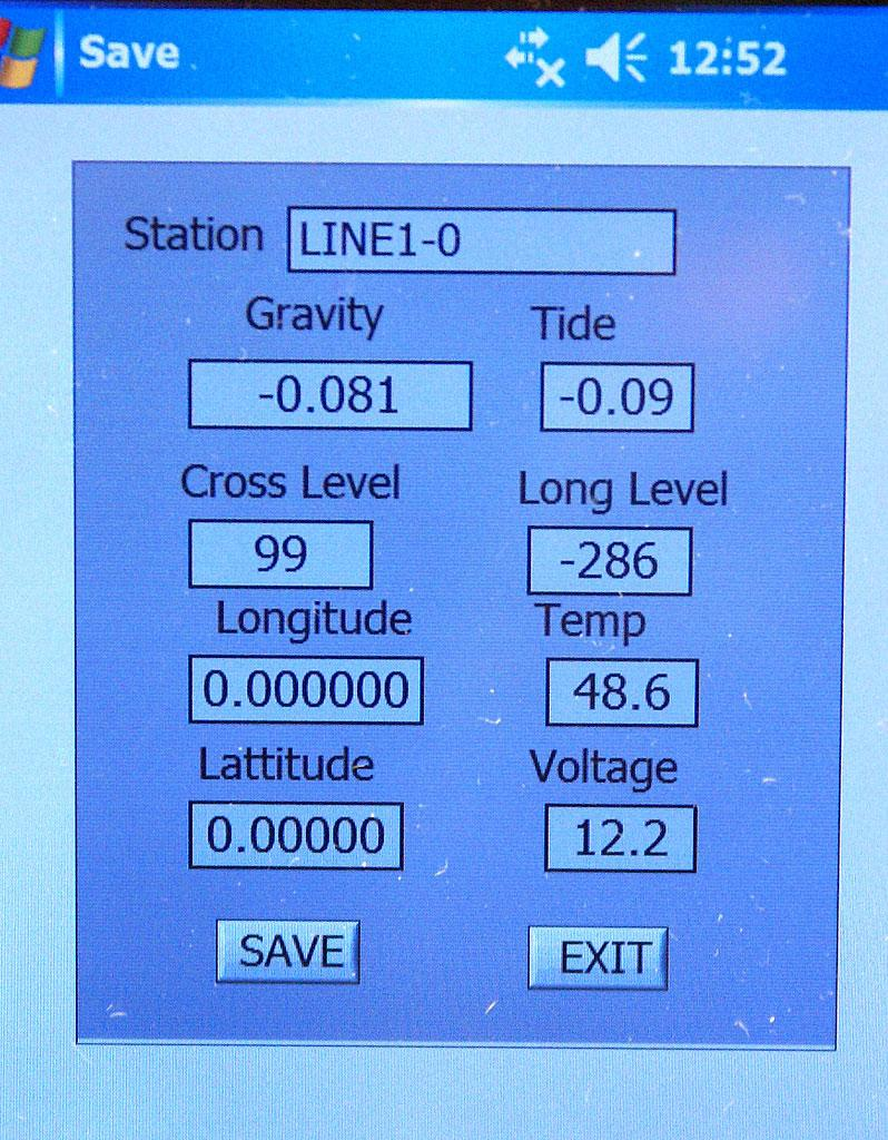 Save_station OK Control: When Gravity reading is stable, i.e. typically 2 minutes after leveling and unclamping, click OK button next to the Save_station label.