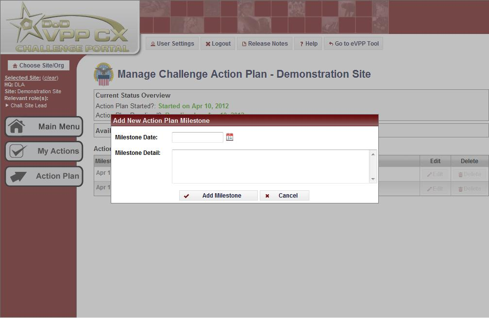 c. View/Edit Challenge Action Plan The View/Edit Challenge Action Plan button takes the user to the