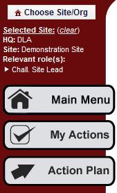 Selected Site Data This section alerts users as to which specific site he/she is currently working on.