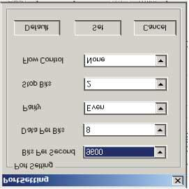 and status lines have been made. To impose the settings for the SCI interface, click on the Port Setting button, as shown in Figure 34.