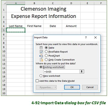 g. Select Existing worksheet. Verify that cell A5 displays as the destination (Figure 4-92). h. Click OK to import the data. i. Cut and paste the labels in row 4 to replace the labels in row 5.