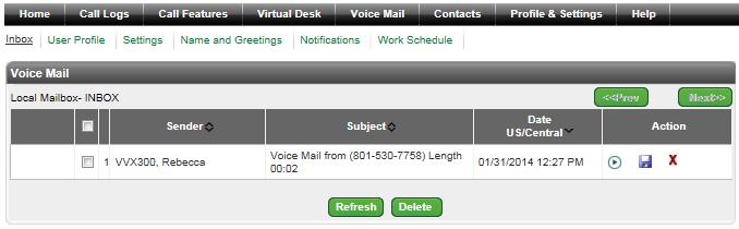 Unified Communications Inbox Click on Voice Mail from the main menu Click on Inbox from the sub menu Your Inbox will show all of the messages, played/unplayed, that are in your voicemail box Play