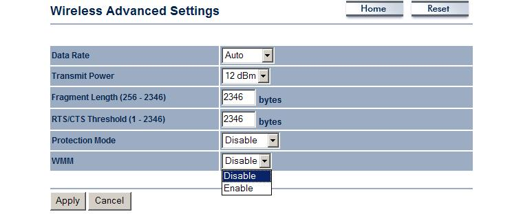 Wireless Advanced Settings Click on the Wireless Advanced Settings link. On this page you can configure the advanced settings to tweak the performance of your wireless network.