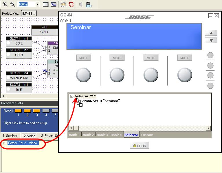 To assign functions to the Selector knob, choose the Selector tab at the bottom of the Smart Simulator window.