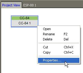 CC-64 Properties To access other CC-64 properties, right
