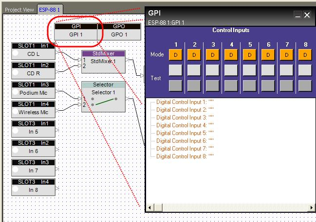 To open the GPI control panel, double-click on the GPI block in the ESP- 88 window. Figure 6.