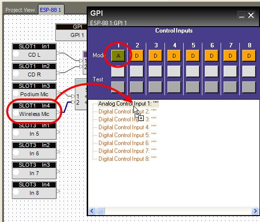 Programming GPI To program a GPI, drag and drop from the ESP-88 window onto a text line in the programming tree of the GPI control Panel.
