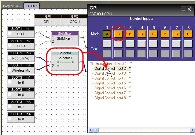 Invoking signal processing blocks using a GPI You can use a switch or button connected to a GPI to recall a snapshot of blocks in your system.