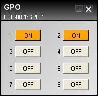 Set the state of a specific GPO channel by clicking on the ON/OFF button. Figure 6.