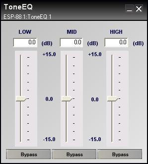 Figure 7.11 - Tone control EQ control panel Adjust the gain slider at each bandwidth to boost or cut the level from -15 db to 15 db.