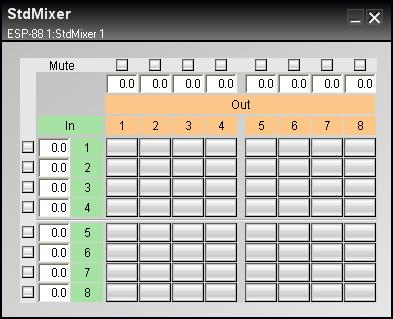 Figure 7.33-8X8 standard mixer control panel Inputs are displayed in green and outputs are displayed in orange.