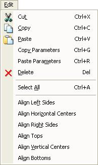 Edit menu Cut Copy Paste Copy Parameters Paste Parameters Delete Select All Delete the selected item and copy to the clipboard (standard Windows editing function).