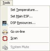 Tools menu Set Temperature Open the Temperature window to set the ambient temperature for which