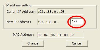 Figure 1.12 - Change IP address in the Address setting window Type 177 for the last three digits of the New IP Address, and press Change. Figure 1.