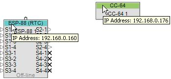 IP address of an ESP-88 or CC-64, simply hold the mouse cursor over the