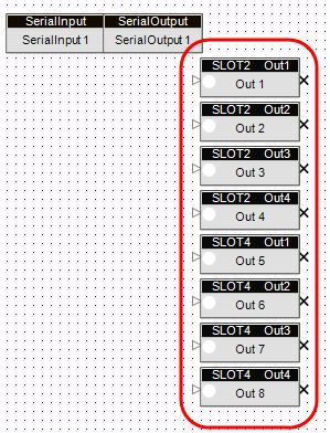 Card Outputs The column of blocks to the right side of the ESP-88 window represent the card outputs on the ESP-88.