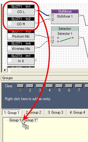 You can drag and drop two or more similar blocks from the ESP-88 window to create a group.