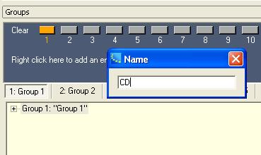 2. Rename the group by selecting the group in the Groups window and pressing F2, or right click and choose Rename. Name the group CD. Figure 4.4 - Rename the group 3.