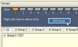 To add a group, right click underneath the Clear buttons and choose Add Group. The new group is added after Group 16. Figure 4.