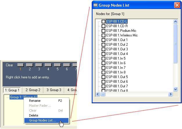Create a group using the Group Nodes List. Right click on the group name in the Groups window, and choose Group Nodes List.