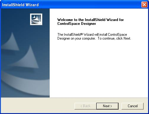 3. Double-click on Setup.exe to install ControlSpace Designer software. Figure 1 - Installer window 4. Click Next to begin installation. 5.