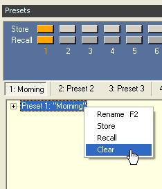 28 - Changing an existing preset Clearing presets To clear the contents of a preset, right click on the