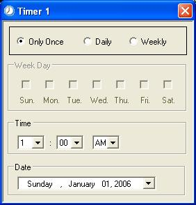 Timer Setup When you first create a timer, the Timer Setup window opens. Use this dialog to specify the type and schedule for the timer event. Figure 4.