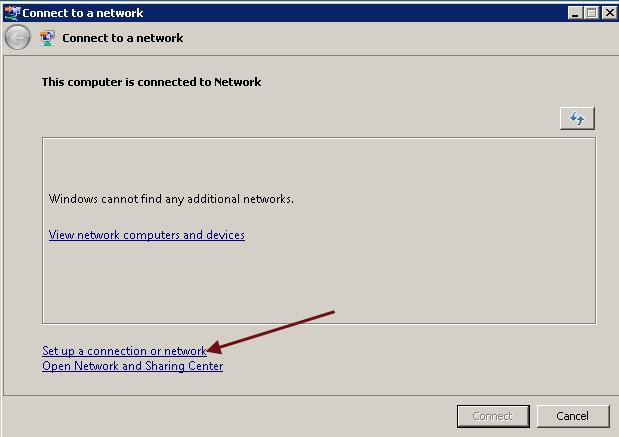 3. In the Connect to a network wizard, click the Set up a connection or network link, shown