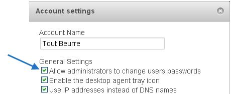 Leostream Cloud Desktops 4. In the Account settings form, select the Allow administrators to change user passwords option, shown in the following figure. 5. Click Save.