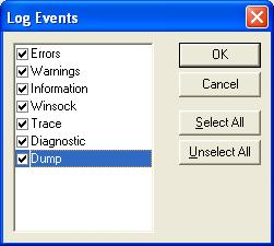 Click the Events button to configure the type of information to store in the Leostream Connect logs. The Log Events dialog, shown in the following figure, opens. a. Select the events to log.
