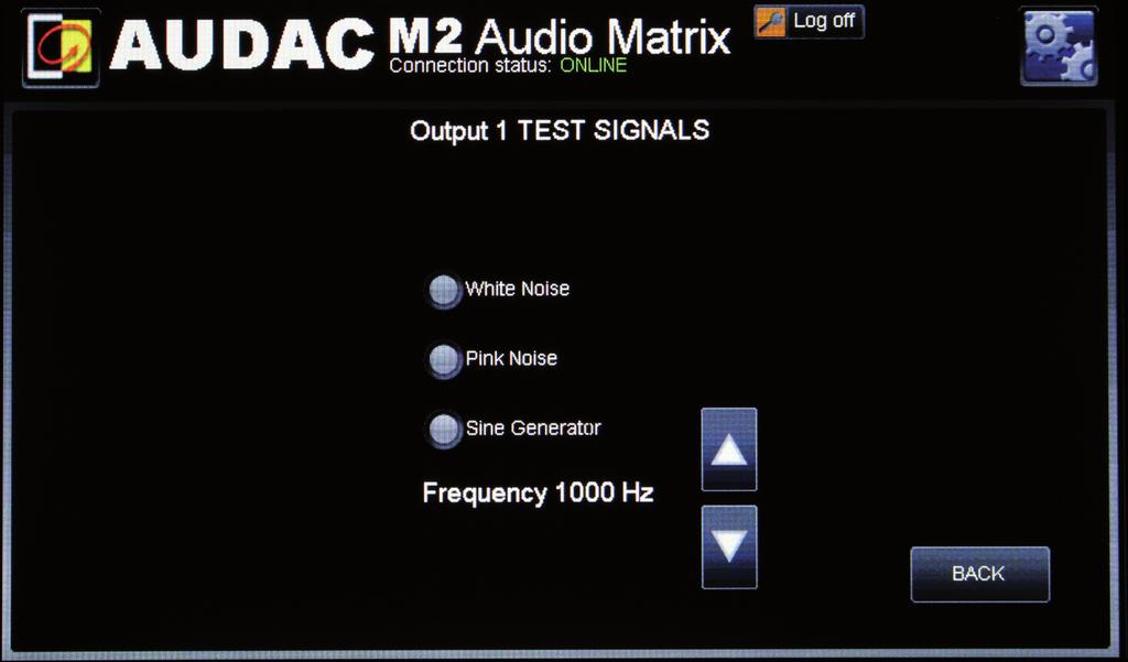 Output settings >> Test signals The M2 has an internal digital signal generator which can generate white noise, pink noise and sinusoidal signals with a selectable frequency.