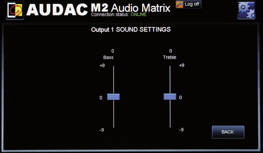Output settings >> Sound setting In this screen you can control the value of bass and treble for this output. This screen shows two faders.
