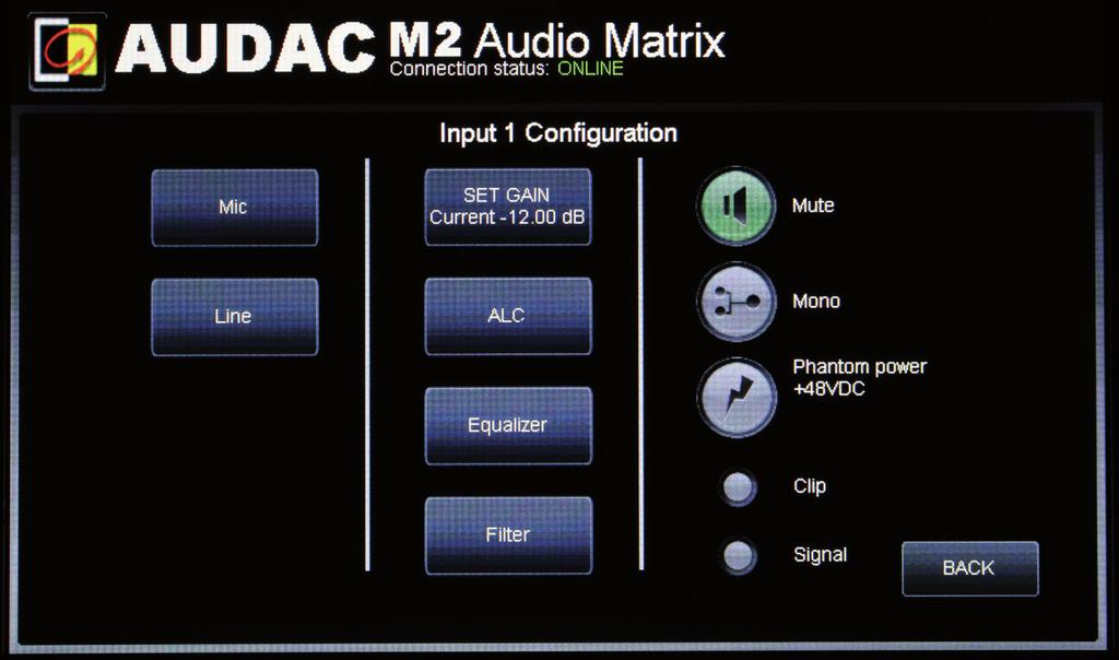 Settings >> Input Configuration First select the input of which the settings should be changed Now a new screen appears which allows you to change the line and mic settings for this input.