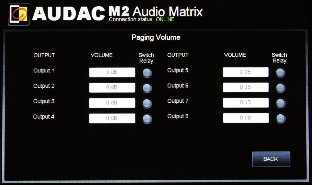 Settings >> Paging Volume In this window the volume for all outputs can be set to a value you see fit for paging.
