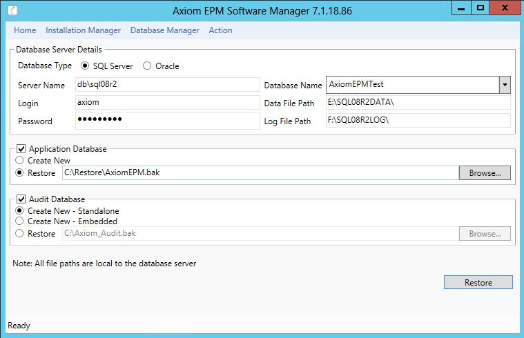 Refreshing Axim TEST Restre the Backup t TEST When restring an Axim database yu shuld use ASM, rather than a direct restre using SQL Management Studi, since there are ther tasks that need t be