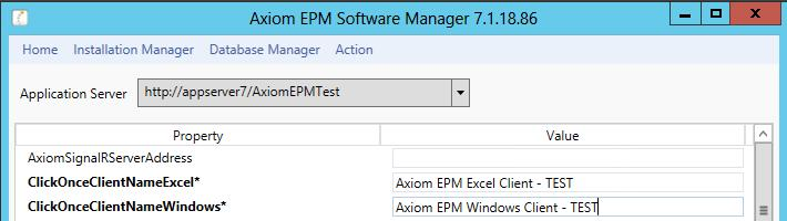 Refreshing Axim TEST Click Ok when the upgrade has cmpleted. In the ASM menu select Installatin Manager > Reset Server Cache. Cnfirm that the crrect Axim URL is selected, and click Reset.