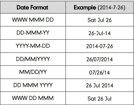 There are 7 available date formats: To configure the time and date format manually on your phone: 1.
