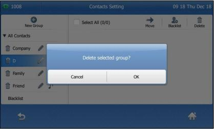 Editing Groups 1. Tap. The IP phone enters the local directory directly as there is only Local Directory enabled in the directory by default. 2. Tap Setting. 3. Tap the desired group. 4.