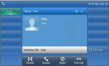 Answering when in another call If you have an active call, and an incoming call arrives on your phone, the incoming call information is displayed on the touch screen. Press or tap the Answer soft key.