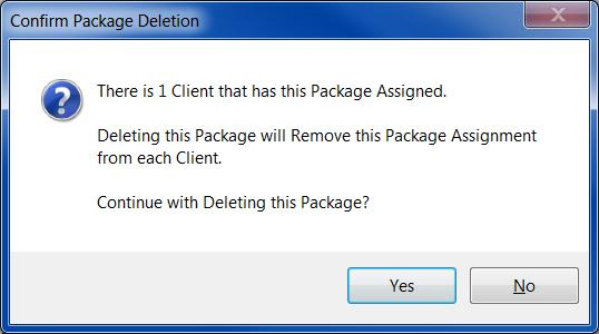 Package. T Delete a Package available fr yur clients, highlight a Package in the list and click the Delete buttn.