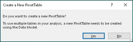 When the Create a New PivotTable dialog appears, click the Yes button.