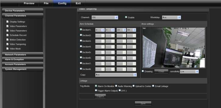 "device 4.2.6 Video Tampering On the ""Video Tampering"" page, select a channel number for which the mask alarm is enabled."