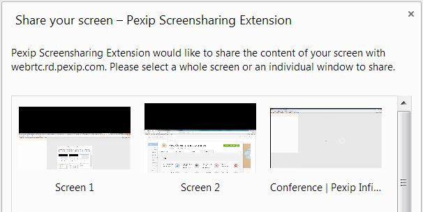 Enabling screen sharing Enabling screen sharing Befre yu can use Infinity Cnnect via Ggle Chrme t share yur cmputer screen with ther cnference, yu must install the Pexip Screensharing Extensin.
