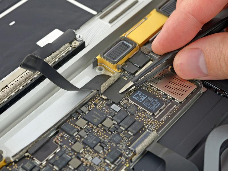 Step 18 Retina MacBook 2015 Lower Case Assembly Removal Use tweezers