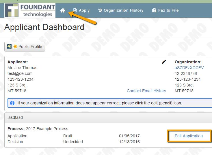 APPLICANT DASHBOARD: After yu d submitted r saved yur applicatin yu can return t yur applicant Dashbard by clicking