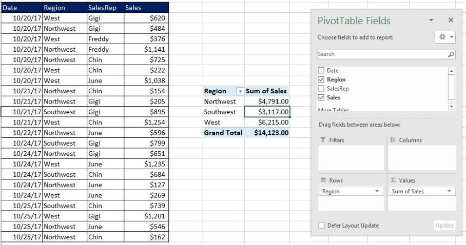 2) The reason that a PivotTable is called a Pivot Table is because you can drag and drop the fields to either the Rows area or Columns Area in the PivotTable Fields Task Pane to see different views
