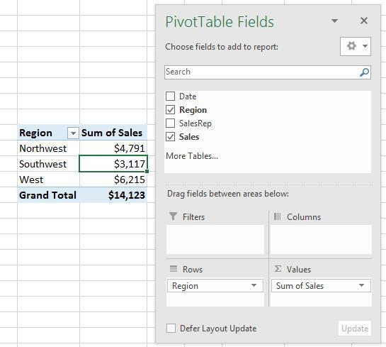 8) We can drag Number fields or Text fields to values area: i.