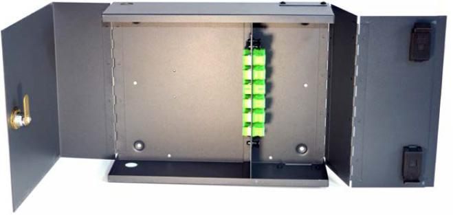 Fibre management, connectivity and distribution for 12 to 48 fibres. Heavy-duty hinge mechanism.